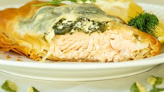 Spinach & Salmon Phyllo Parcels: Greek- Spanakopita Salmon