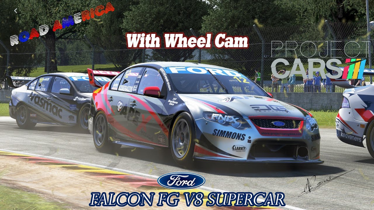 Project CARS:Road America in Ford V8 Supercar [HD] [Wheelcam] - YouTube