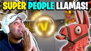 OPENING BOTH SUPER PEOPLE LLAMAS - France Fortnite Save the World PvE ( Ouverture du lama de butin