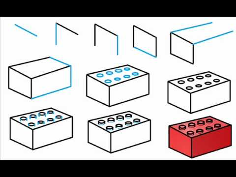 How to draw a lego brick step by step drawing tutorial