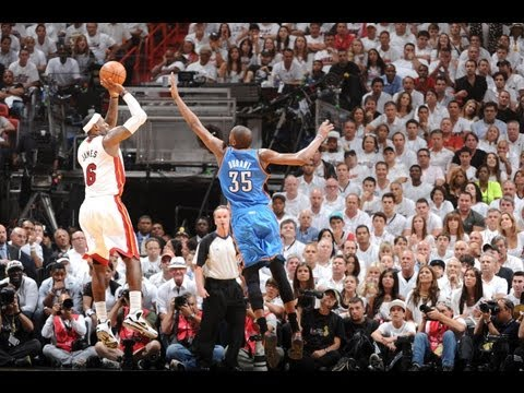 Hobbled LeBron sinks BIG three pointer in game 4!