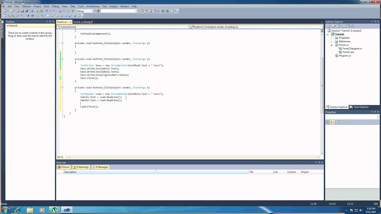 C# tutorial - Saving/Loading and progressbar control