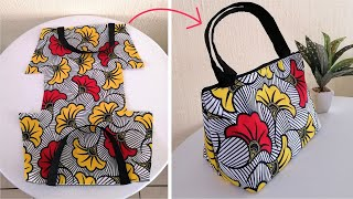 DIY Wide Bottom Tote/Hand bag from one piece of fabric with zip!