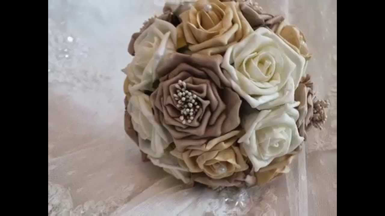 Artificial wedding flowers foam silk bridal brides bouquet flowers ...