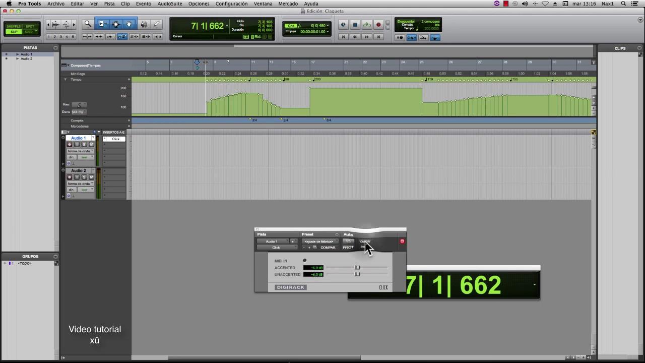 Pro Tools 10 tutorial Metronomo, claqueta o control de B P M