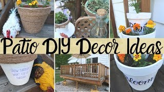DIY PATIO DECOR IDEAS | FARMHOUSE STYLE | OUTDOOR DECOR | TERRA COTTA POTS| DOLLAR TREE DIYS