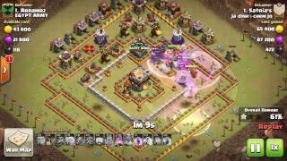 Clash of clans th11 max destruction by healer.Queen &bowler 3 star best war bas