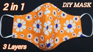 5 Minutes Easy Mask Anyone Can Make This Mask Easily 2 in 1 3 Layers Face Mask Sewing Tutorial