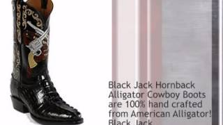 Black Jack Hand Tooled And Painted Cowboy Boots Ht104 - Timsboots.com
