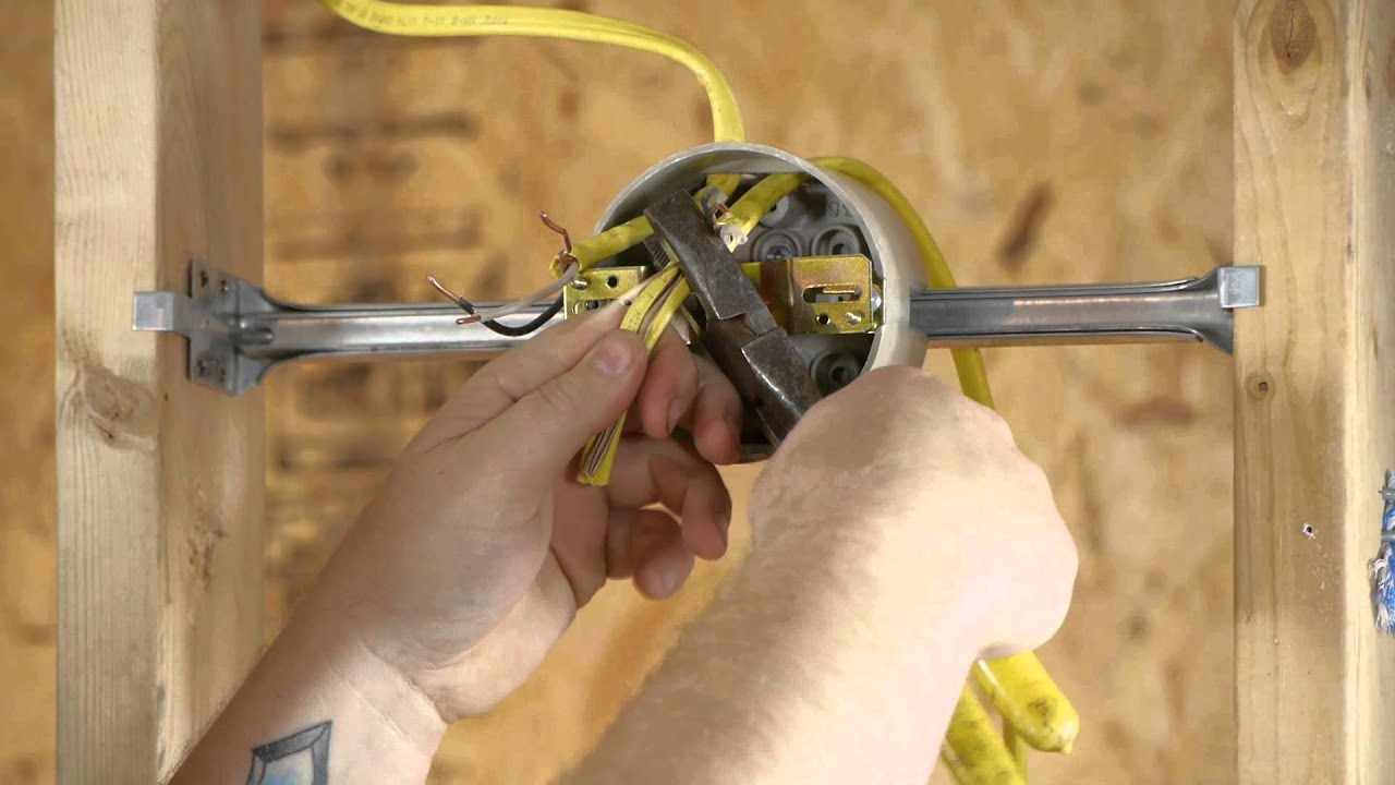 Install Wall Light Fixture Without Junction Box : How to Run an Outlet From a Lighting Fixture Box : DIY Electrical Work - YouTube