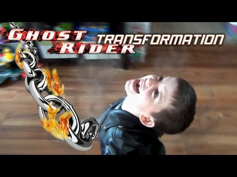 Ghost Rider kid in real life! Transformation scene with ...