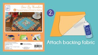 Sew By Number Placemat Step 2 - Attach backing fabric