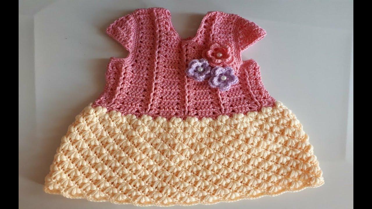 40c335e3c Vestido a crochet - ganchillo - vestido tejido - para bebé - parte # 2