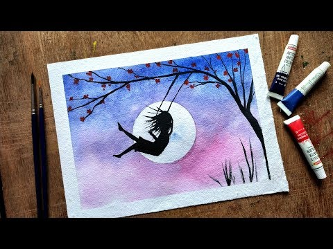 Girl on Swing drawing for beginners with Watercolor - step by step