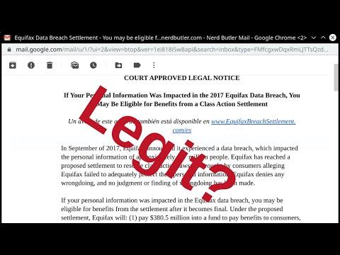 equifax data breach settlement legit