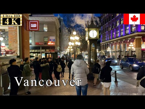 🇨🇦Vancouver Long Walk - Downtown at Night -【4K 60fps】