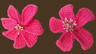 Вязание цветка. Вязание тунисским крючком. Цветок крючком. (crochet flower)