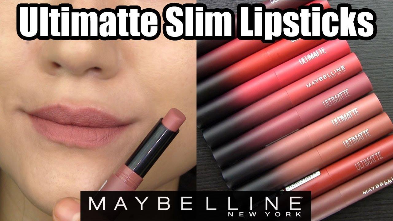 Lip Swatches \u0026 Review // Maybelline ULTIMATTE SLIM LIPSTICKS
