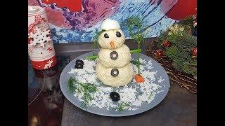Снеговик из сыра! на новогодний стол!