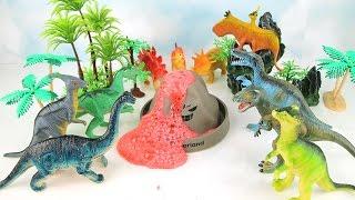 DIY Volcano Eruption With Lava Dinosaur. Dino Volcano Swamp! Learn Names Of Dinosaurs For Kids.