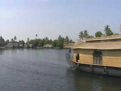 Tourist cruise on the backwaters in Kerala, India
