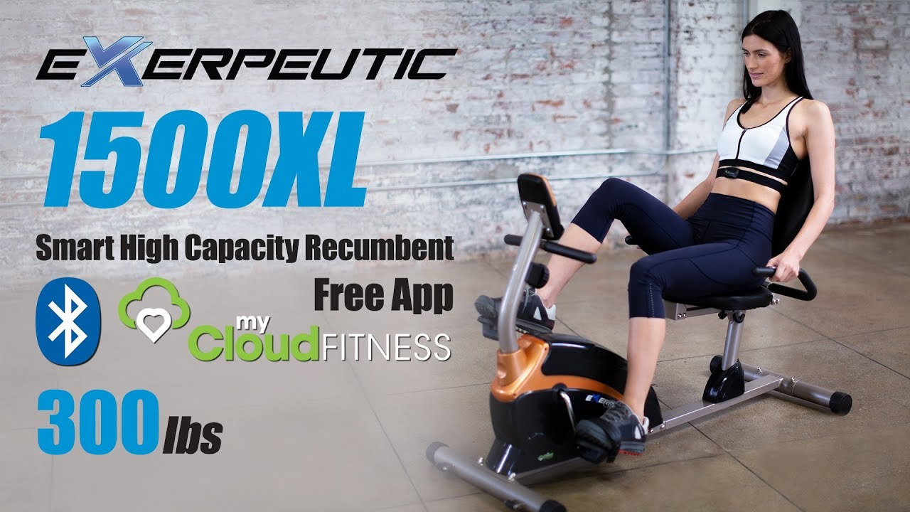 4118 - EXERPEUTIC 1500XL Bluetooth High Capacity Recumbent Bike with Goal Setting and Free App