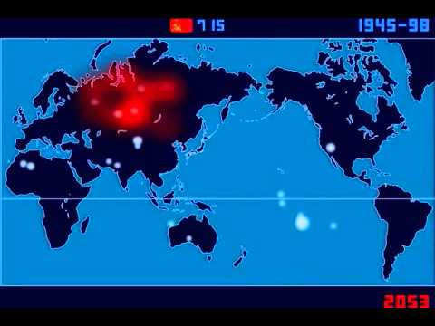 A Time-Lapse Map of Every Nuclear Explosion Since 1945 in 3 minutes
