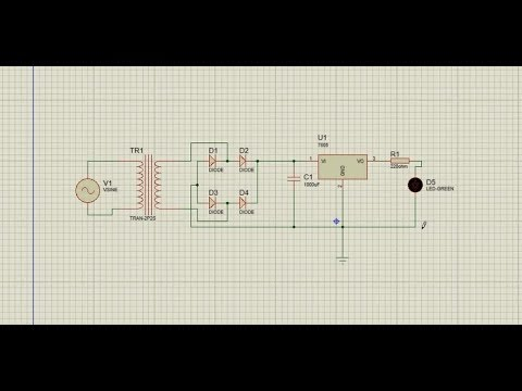 how to make a simple power supply circuit with simulation in Proteus