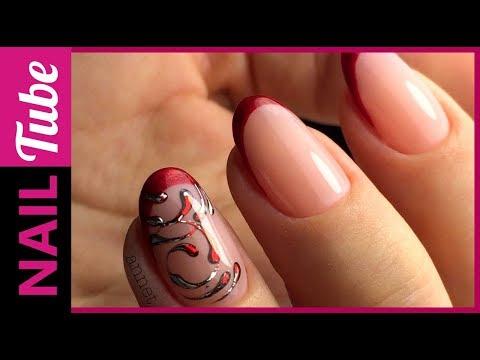 Красный френч с рисунком на ногтях фото