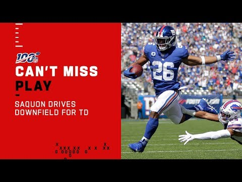 Saquon Carries the Giants Downfield for a TD!