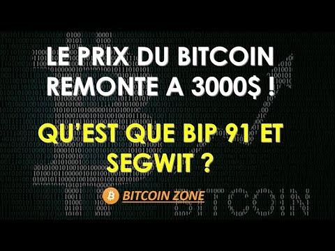 Le Prix Du Bitcoin Remonte A 3000$ ! Qu'est Que BIP 91 Et Segwit ?