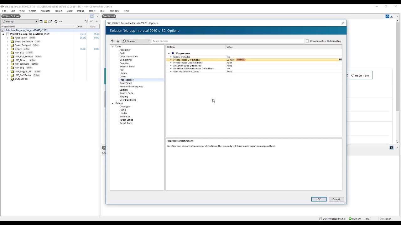 SEGGER Embedded Studio - Build configurations