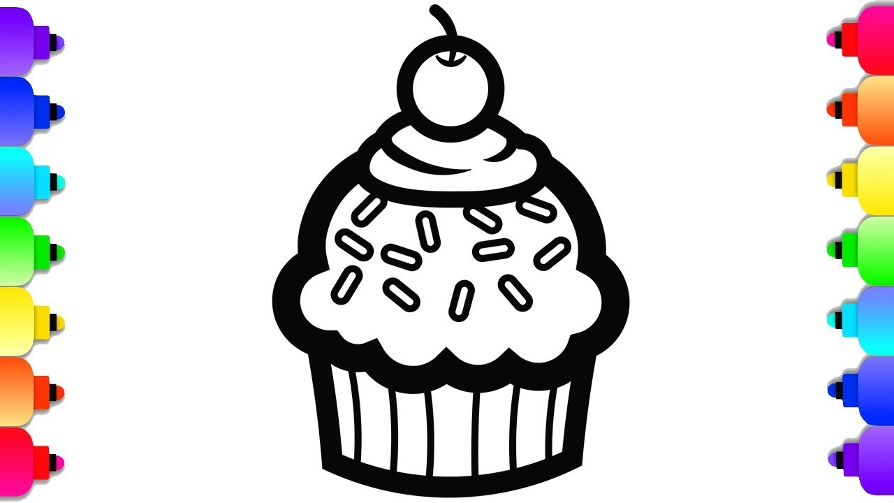 GLITTER Birthday Cupcake Coloring and Drawing 🍰🍥💜 Rainbow Cupcake  Coloring Page
