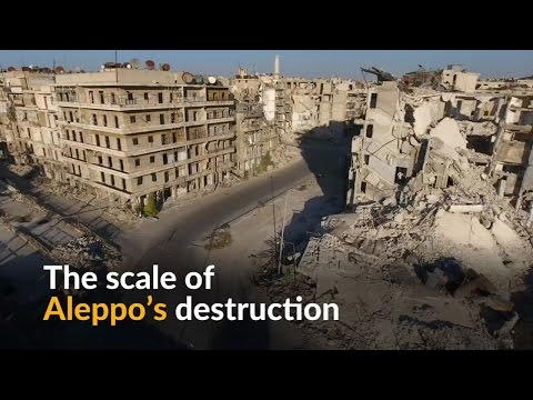 Drone footage shows massive destruction in Aleppo, Syria