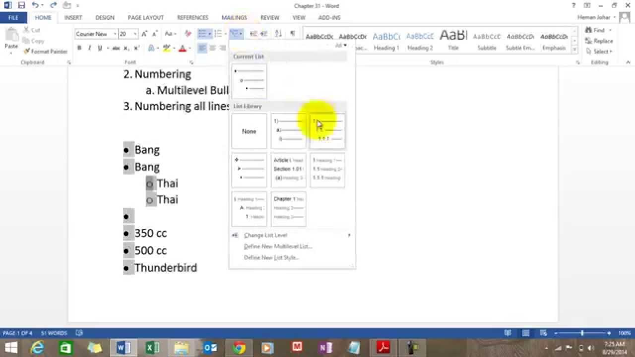 how to write bullet points in word