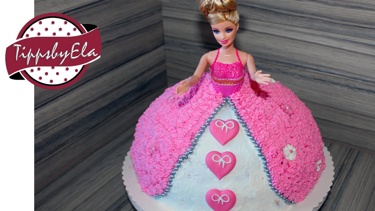 Princess barbie doll cake with whipped cream or icing YouTube