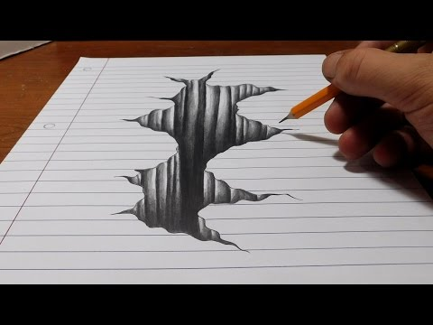 Thumbnail: Trick Art on Line Paper - Drawing 3D Hole