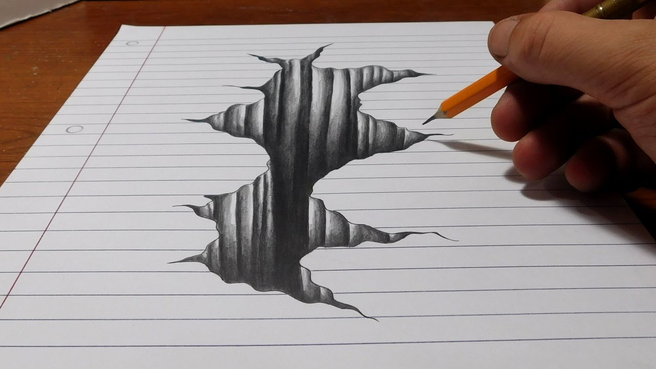 3d Line Art : Trick art on line paper drawing d hole youtube