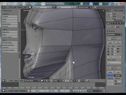 Blender 3D Tutorial - Beginners, Head Model Adding a Mouth (2) by VscorpianC