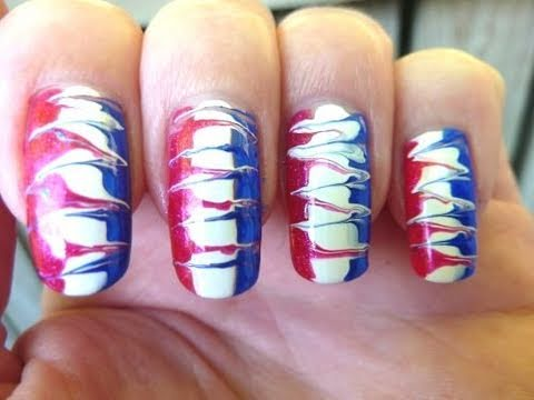4th Of July Independence Day 2011 Easy Needle Drag Nail Art Design
