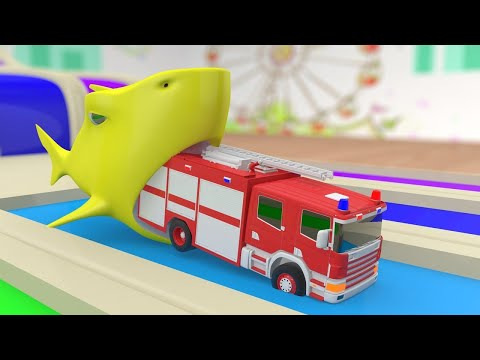 Giant Shark eating Fire Truck !! Learn Colors with Baby Shark and Trucks Parking Water Slide Colors