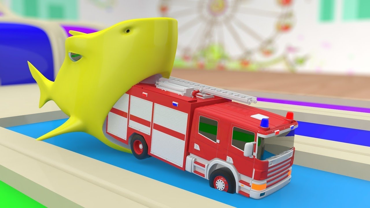 Giant Shark eating Fire Truck !! Learn Colors with Baby ...