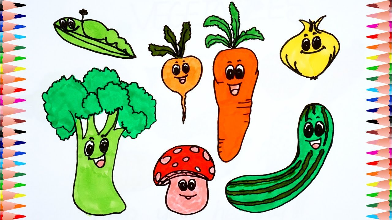 How To Draw Funny Vegetables - Learn To Drawing And ...