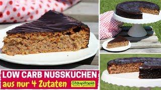 Saftiger 4 Zutaten Low Carb Nusskuchen ohne Mehl & Zucker | Low Carb Kuchen schnell & einfach backen
