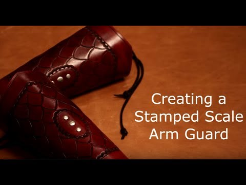 Stamped Scale Leather Arm Guard