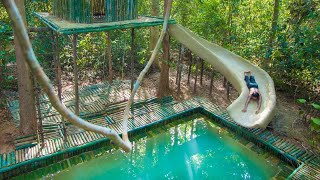 Build Swimming Pool Water Slide Around Secret Bamboo House