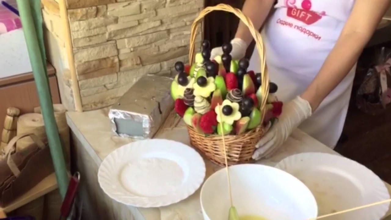 """Как делать фруктовые букеты (фруктовый букет """"Калипсо"""")"""
