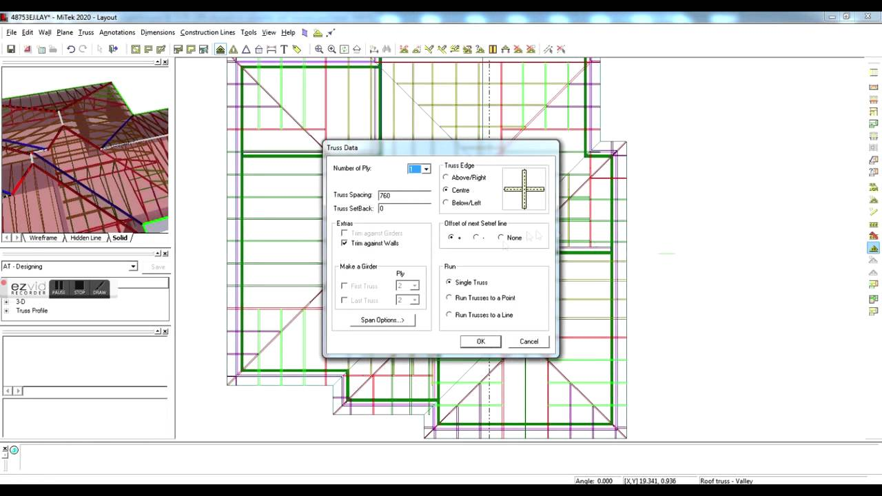 Designing A Simple Hipped Roof On Mitek 20 20 Software