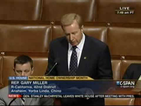 Rep. Gary Miller Speaks on National Homeownership Month