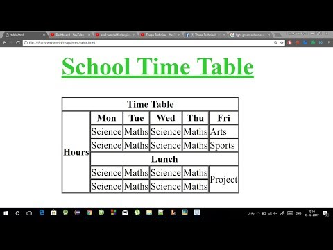 Advance HTML Tutorial - How To Create A School TimeTable In HTML In Hindi
